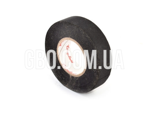 Изолента лавсановая Coroplast, 19мм, черная 25м термостойкая красная надпись