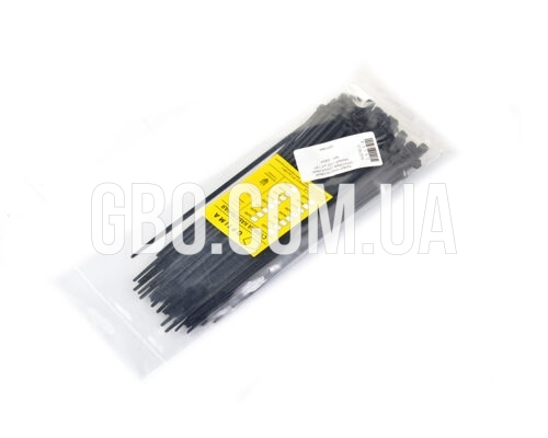 Стяжка пластиковая 200х4,0мм черная (100 шт.) уп.
