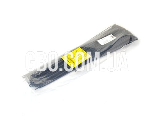 Стяжка пластиковая 370х4,0мм черная (100 шт.) уп.