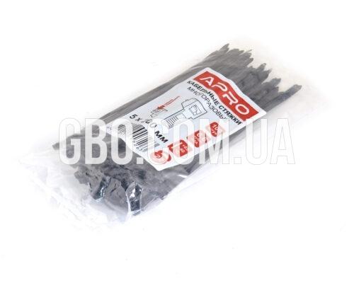 Стяжка пластиковая многоразовый 200х5,0мм черная (100 шт.) уп.