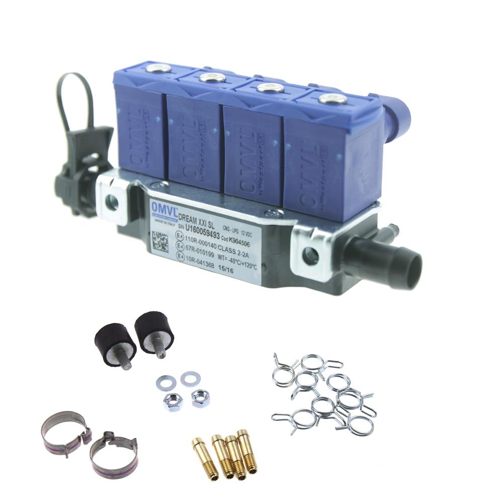 Форсунки OMVL 4 цил. 3 Ом с жиклерами и штуцерами в коллектор