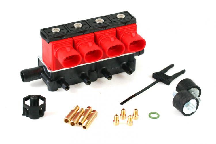 Форсунки OMVL(Valtek) 4 цил. 3 Ом с жиклерами и штуцерами в коллектор