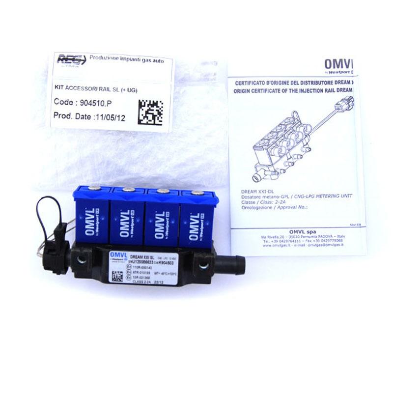Форсунки OMVL 4 цил. 3 Ом с жиклерами и штуцерами в коллектор 6037